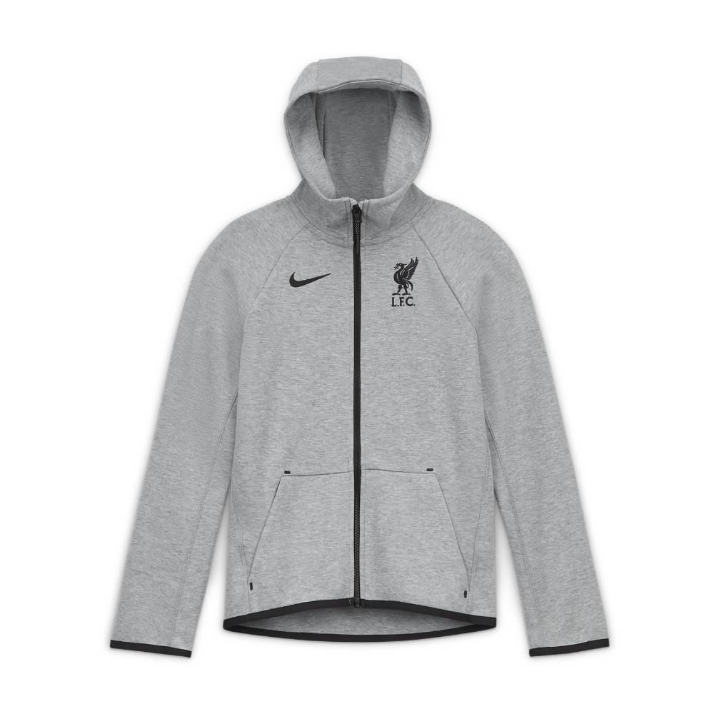 Nike Liverpool FC Tech Fleece FullZip Hettegenser 20/21 Barn Grå