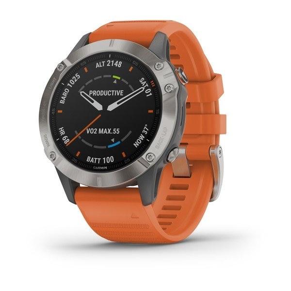 Garmin Fenix 6 Sapphire Titanium w/Orange band GPS Pulsklokke