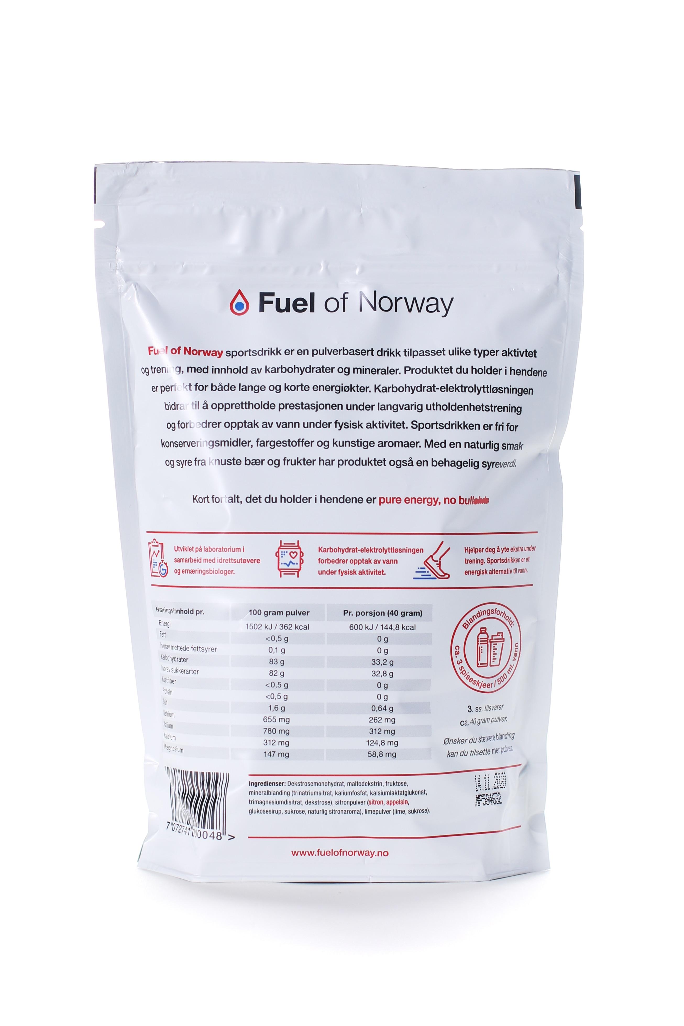 Fuel of Norway Sportsdrikke 0.5kg sitron/lime