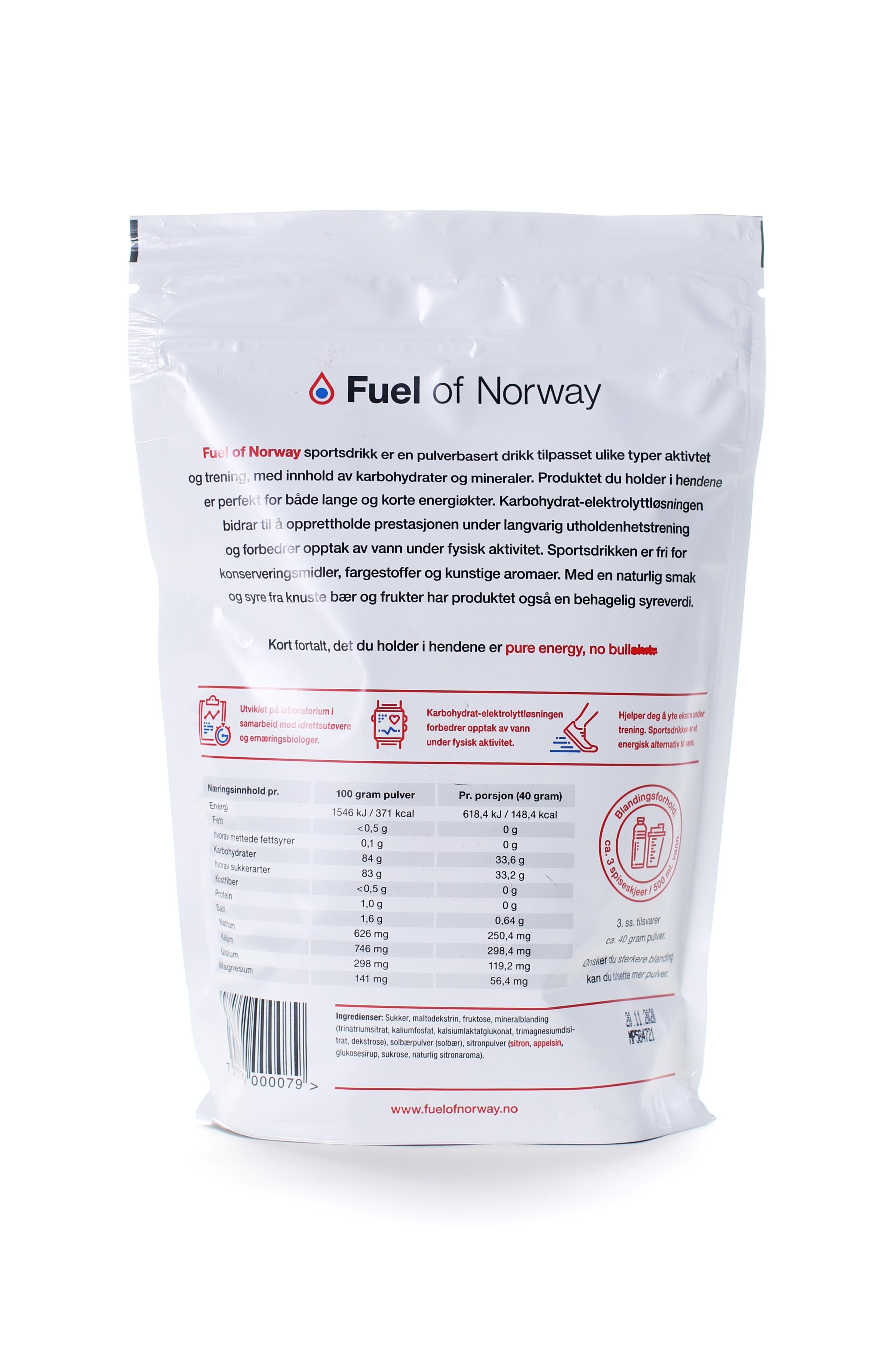 Fuel of Norway Sportsdrikke 0.5kg solbær