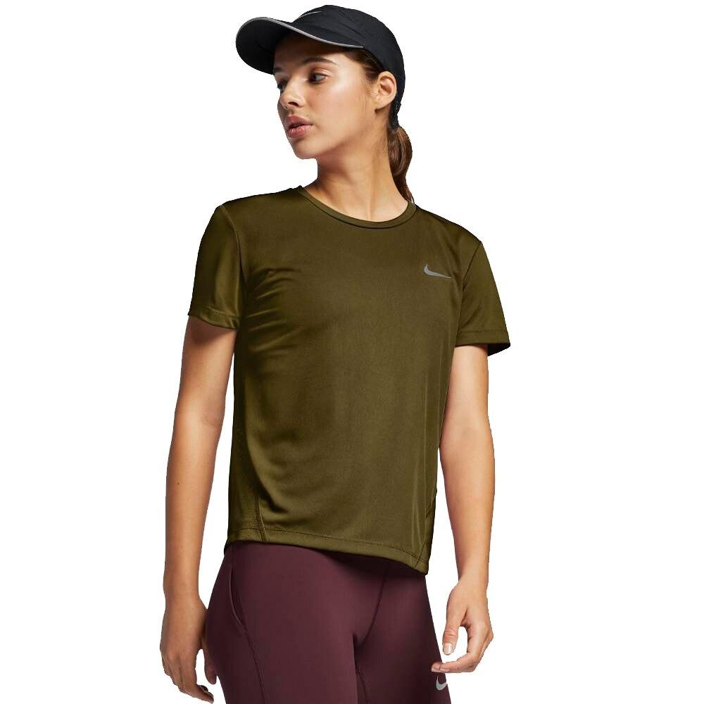 Nike Miler Løpetrøye Dame Olivengrønn
