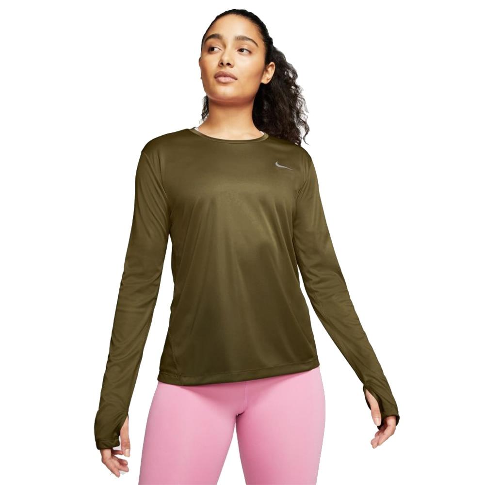 Nike Dry Miler Langermet Løpetrøye Dame Grønn