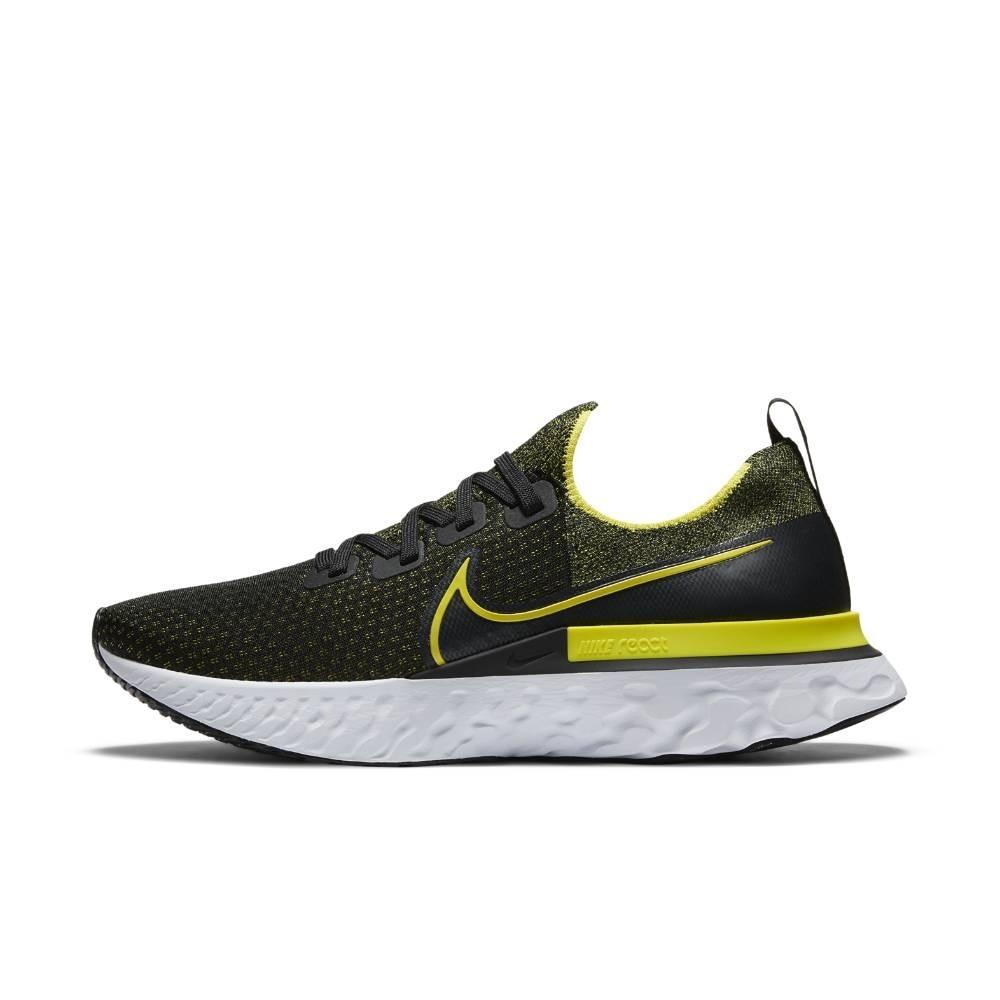 Nike React Infinity Run Flyknit Joggesko Herre Sort/Gul