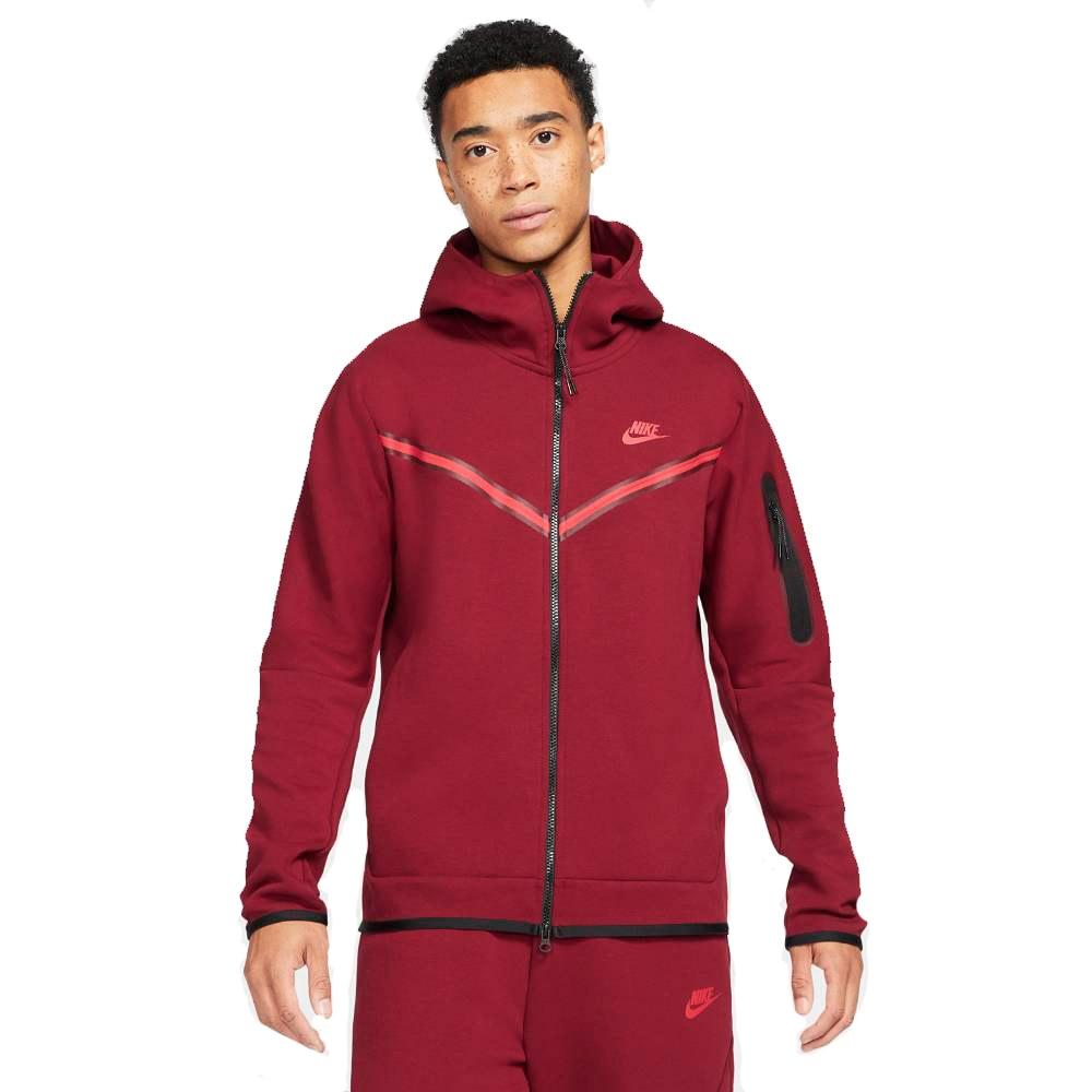 Nike Tech Fleece FullZip Hettegenser Rød/Burgunder