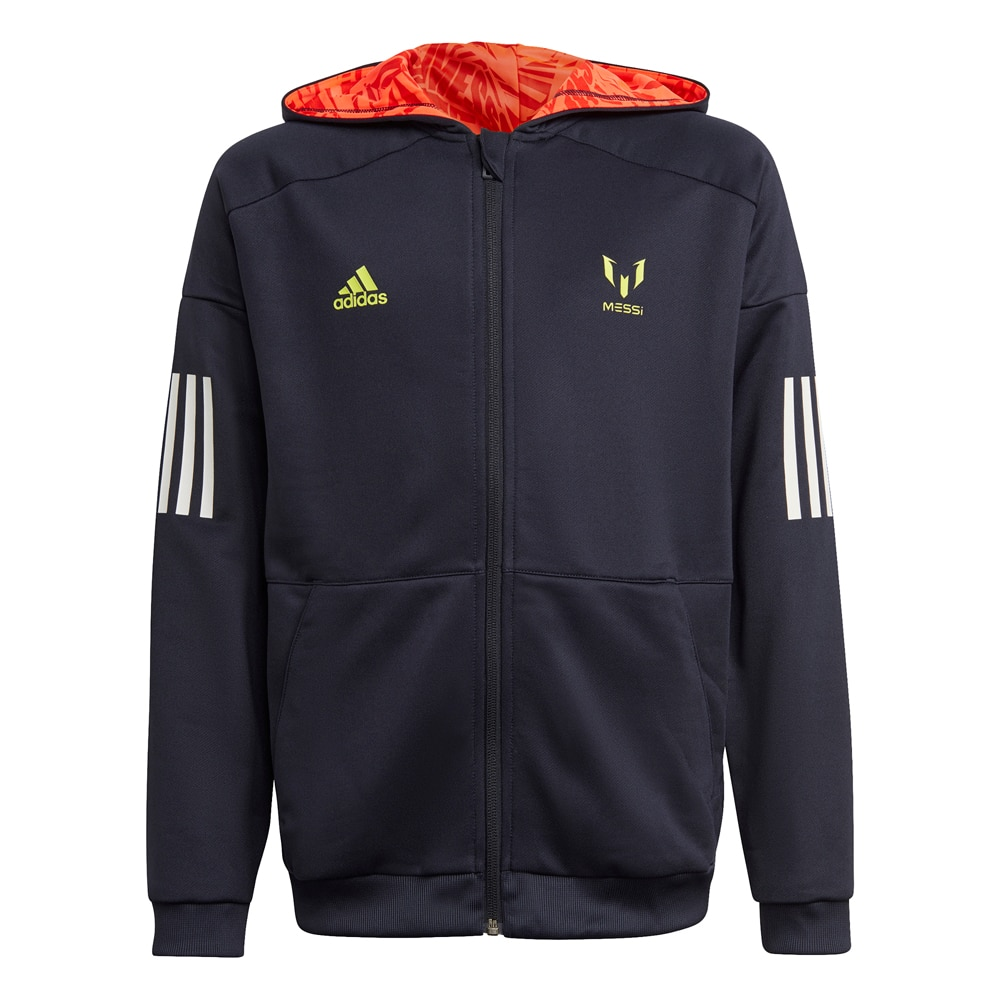 Adidas Messi FullZip Hoodie Hettegenser Barn Sort
