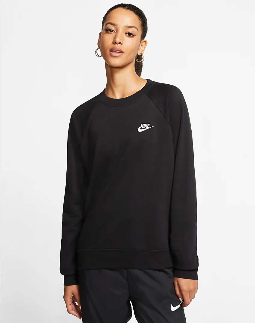 Nike NSW Essential Fleece Crew Genser Dame Sort