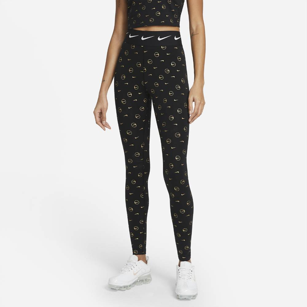 Nike Print Legging Tights Dame Sort