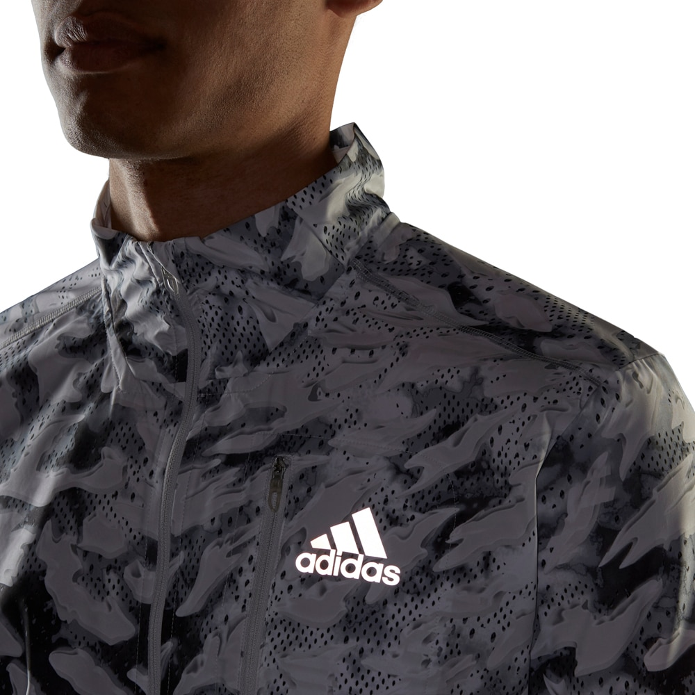 Adidas Fast Graphic Primeblue Løpejakke Herre Hvit/Sort