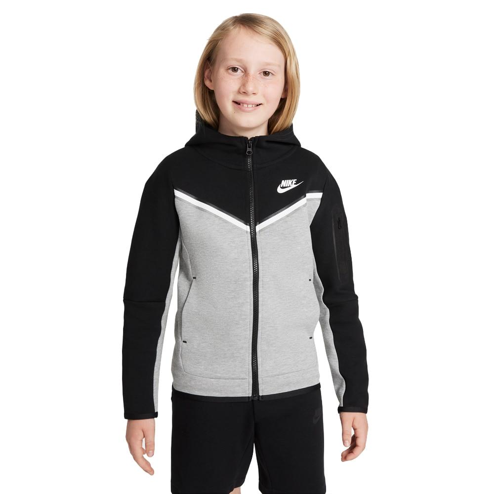 Nike Tech Fleece Hettegenser Barn Grå/Sort