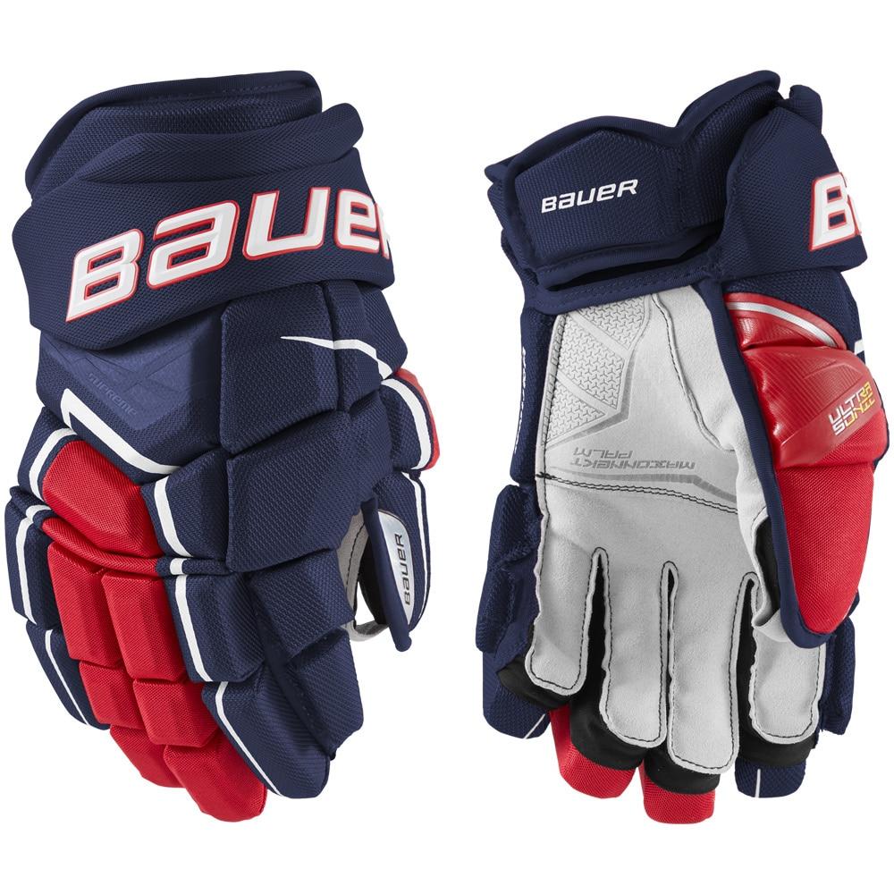 Bauer Supreme Ultrasonic Hockeyhanske Marine/rød/hvit