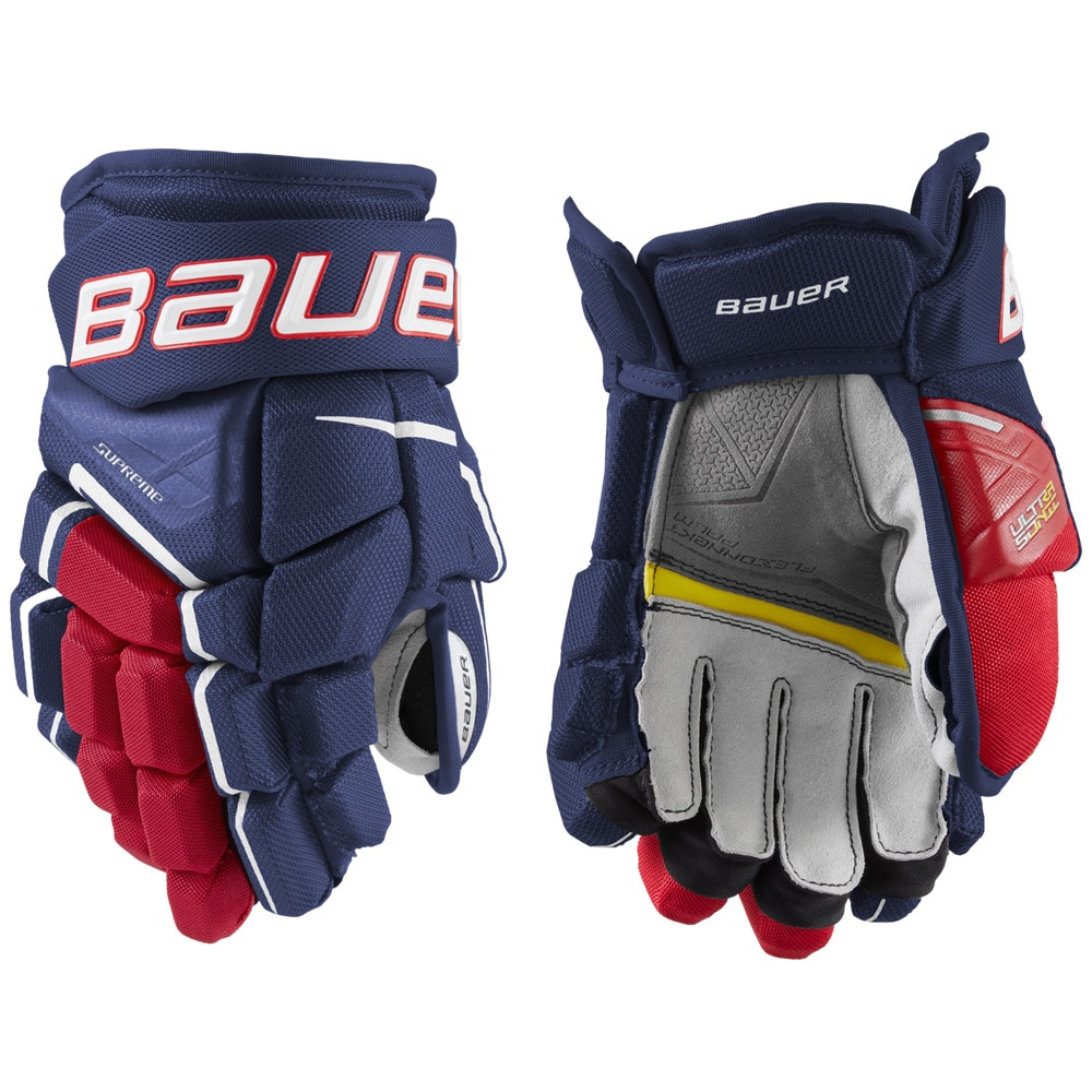 Bauer Supreme Ultrasonic Junior Hockeyhanske Marine/rød/hvit