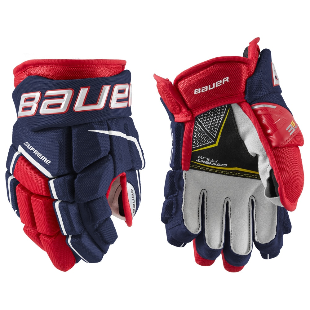 Bauer Supreme 3S PRO Junior Hockeyhanske Marine/rød/hvit