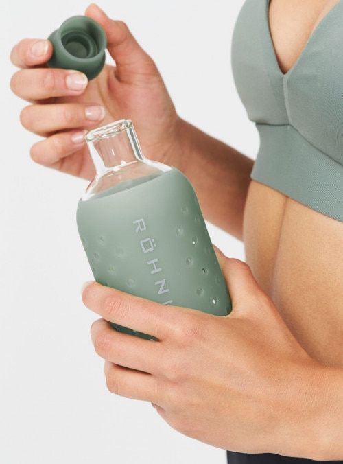 Röhnisch Small Glass Bottle Drikkeflaske Lys Grønn